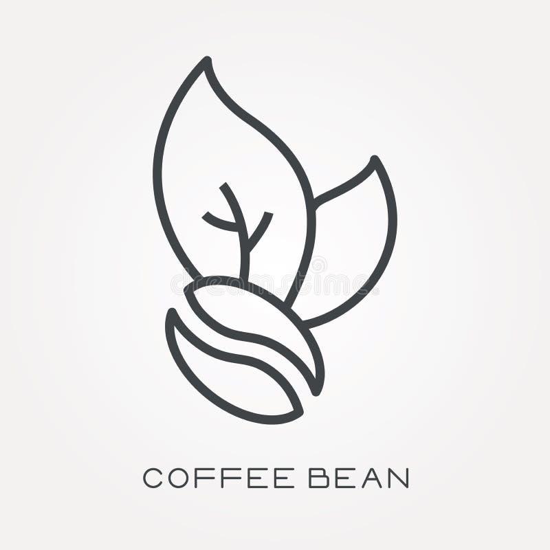 Ícones lisos do vetor com feijão de café ilustração do vetor