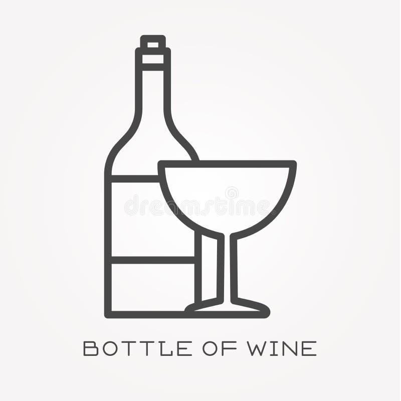 Ícones lisos do vetor com a garrafa do vinho ilustração royalty free