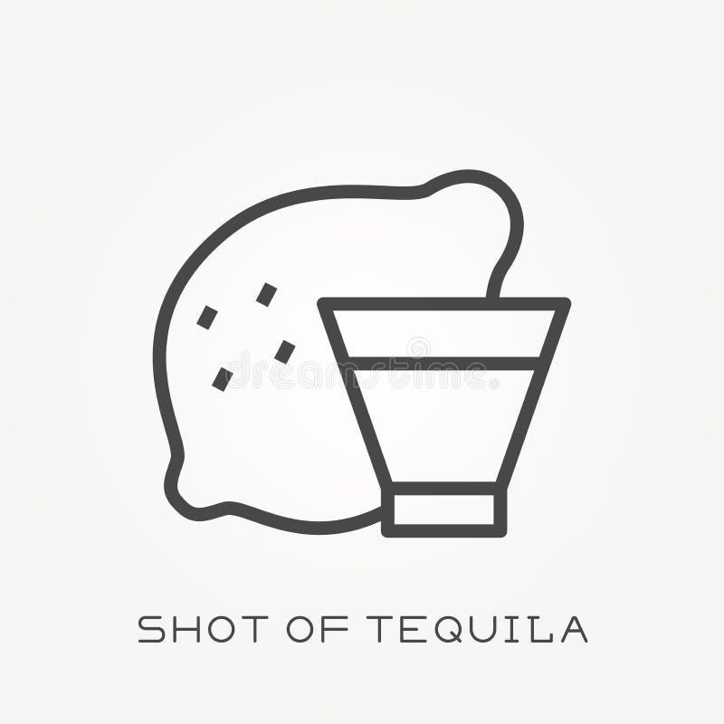 Ícones lisos do vetor com o tiro do tequila ilustração do vetor