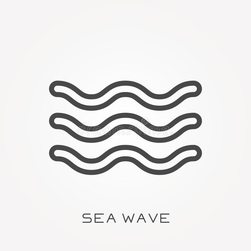 Ícones lisos do vetor com onda do mar ilustração stock