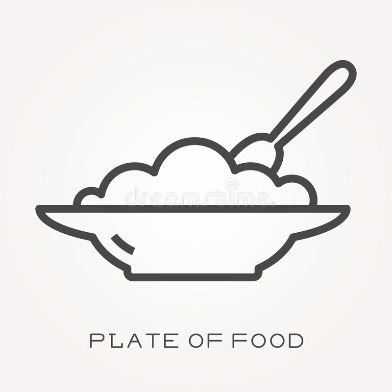 Ícones lisos do vetor com a placa do alimento ilustração royalty free