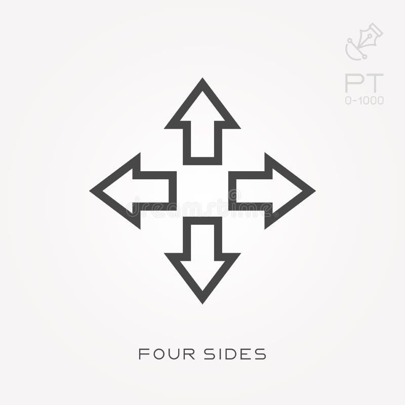 Ícones lisos do vetor com quatro lados ilustração stock