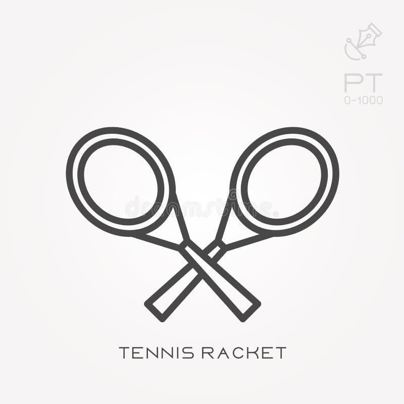 Ícones lisos do vetor com raquete de tênis ilustração royalty free
