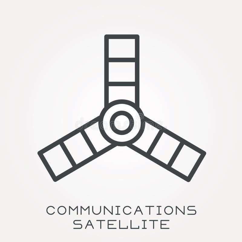 Ícones lisos do vetor com satélite de comunicações ilustração stock
