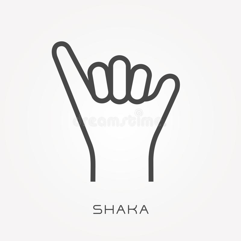 Ícones lisos do vetor com shaka ilustração stock