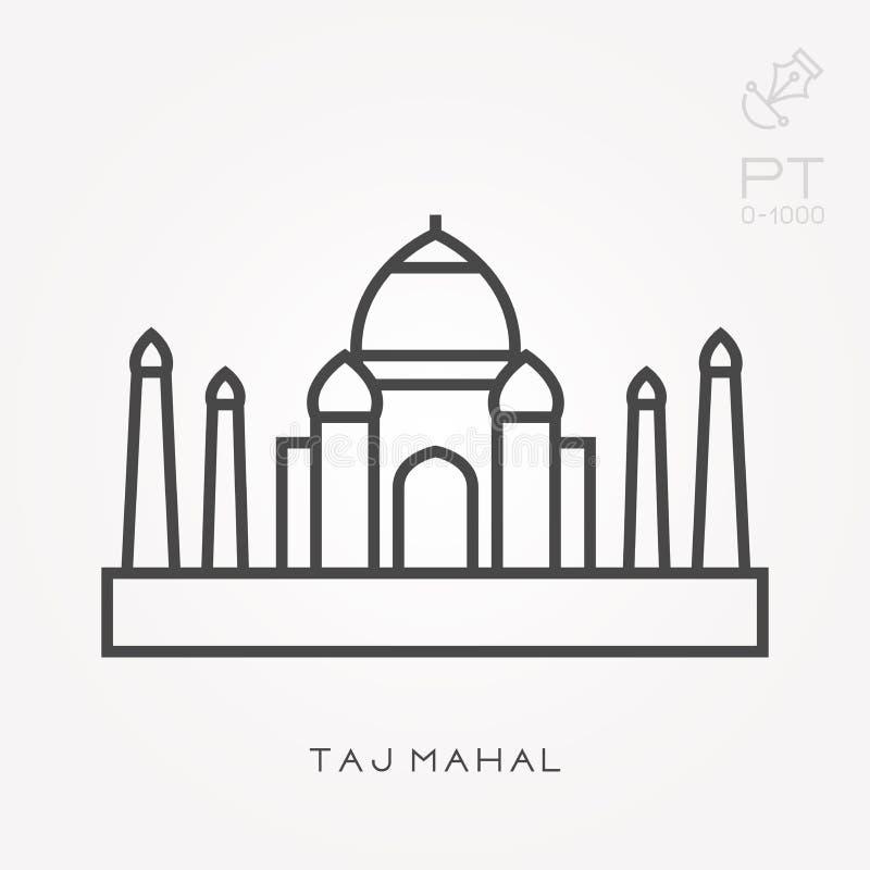 Ícones lisos do vetor com Taj Mahal ilustração royalty free