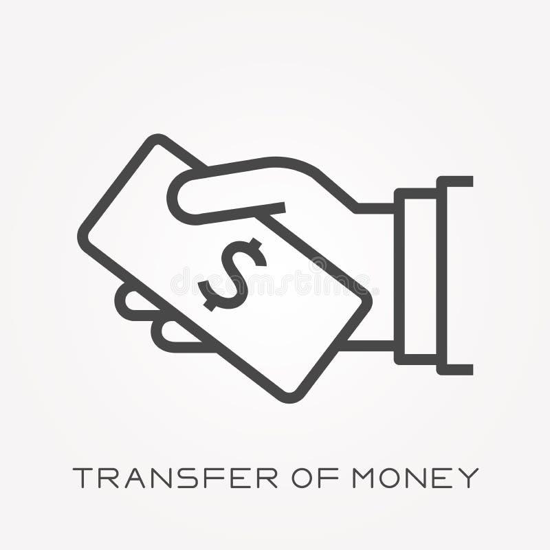 Ícones lisos do vetor com transferência do dinheiro ilustração royalty free