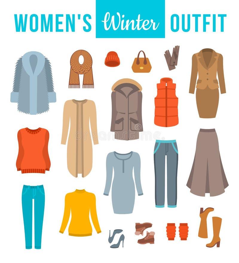 Ícones lisos do vetor da roupa do inverno das mulheres ajustados ilustração royalty free