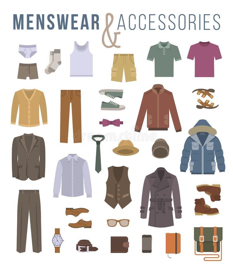 Ícones lisos do vetor da roupa e dos acessórios da forma dos homens ilustração stock