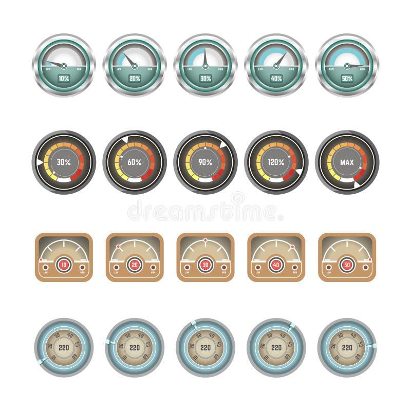 Ícones lisos do vetor das exposições dos velocímetros e dos indicadores ilustração stock