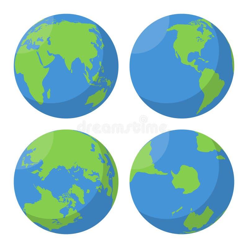 Ícones lisos do vetor do globo da terra ajustados ilustração do vetor
