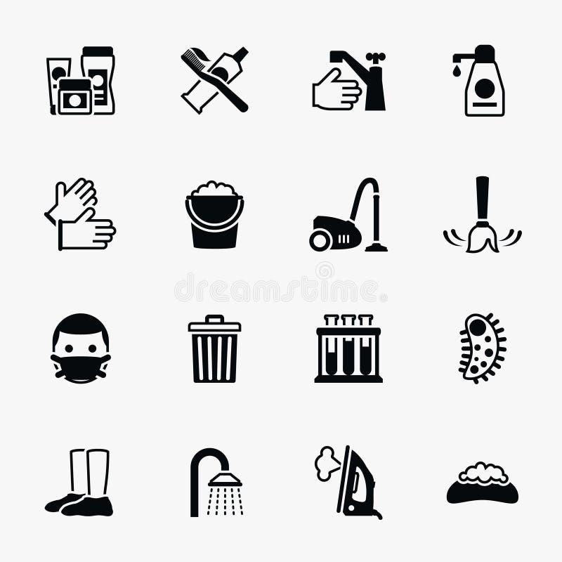 Ícones lisos do vetor do saneamento e da saúde ajustados ilustração do vetor