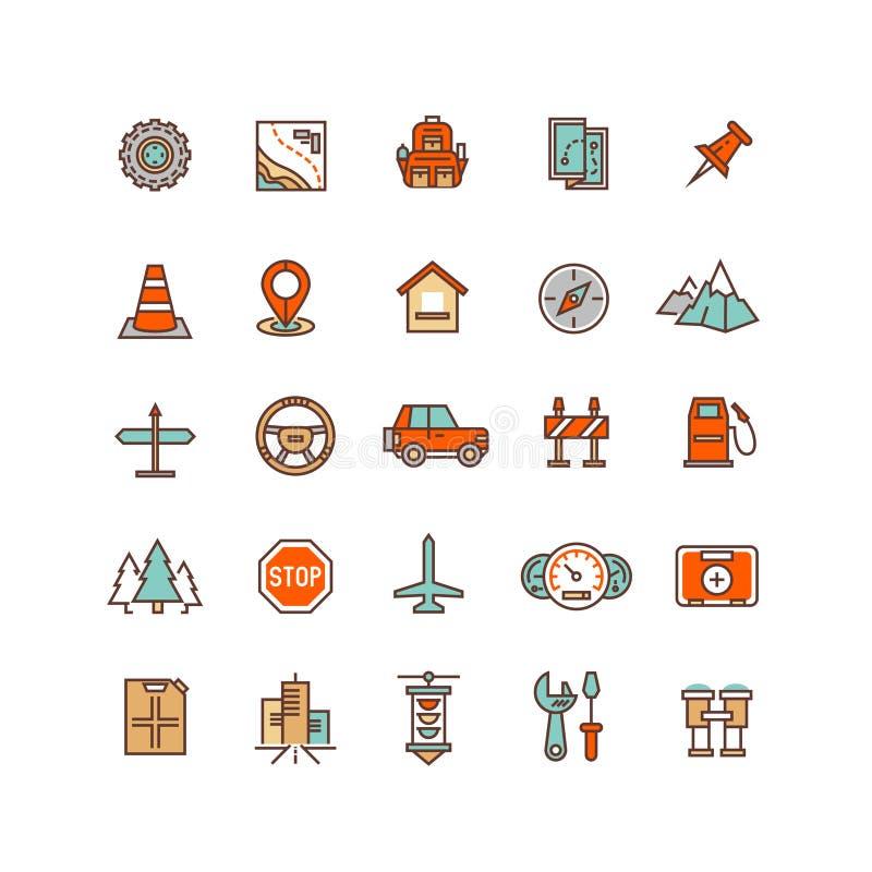 Ícones lisos do vetor do tráfego rodoviário ilustração royalty free