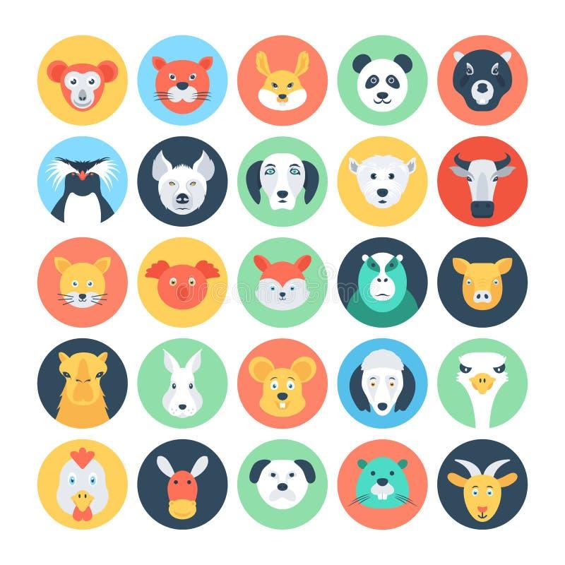Ícones lisos 2 do vetor dos Avatars animais ilustração royalty free