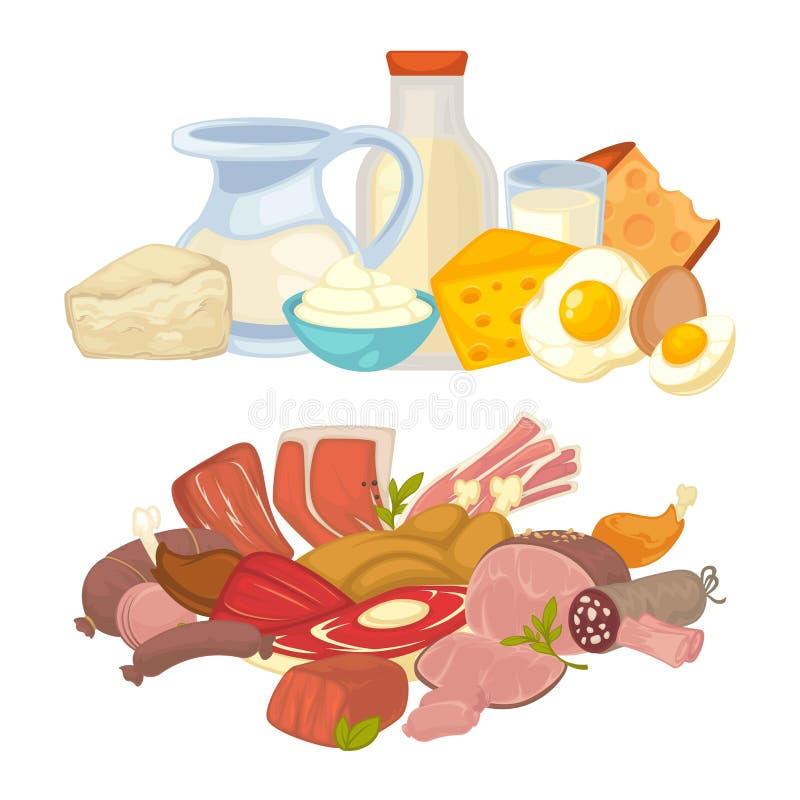 Ícones lisos do vetor dos produtos da carne do alimento e de leite da leiteria ajustados ilustração do vetor