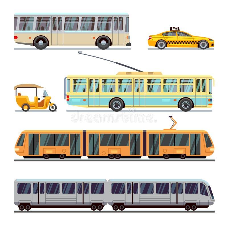 Ícones lisos do vetor municipal do transporte da cidade ajustados ilustração stock
