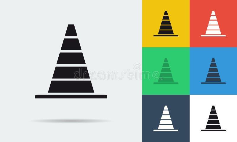 Ícones lisos do vetor sete de cones do estacionamento ilustração stock