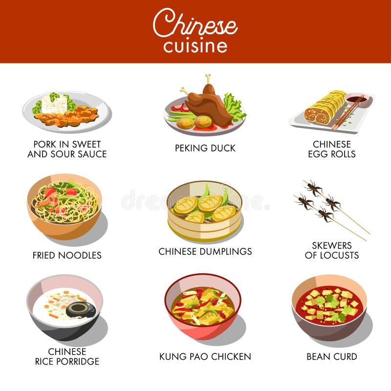 Ícones lisos do vetor tradicional chinês dos pratos da culinária ajustados ilustração royalty free