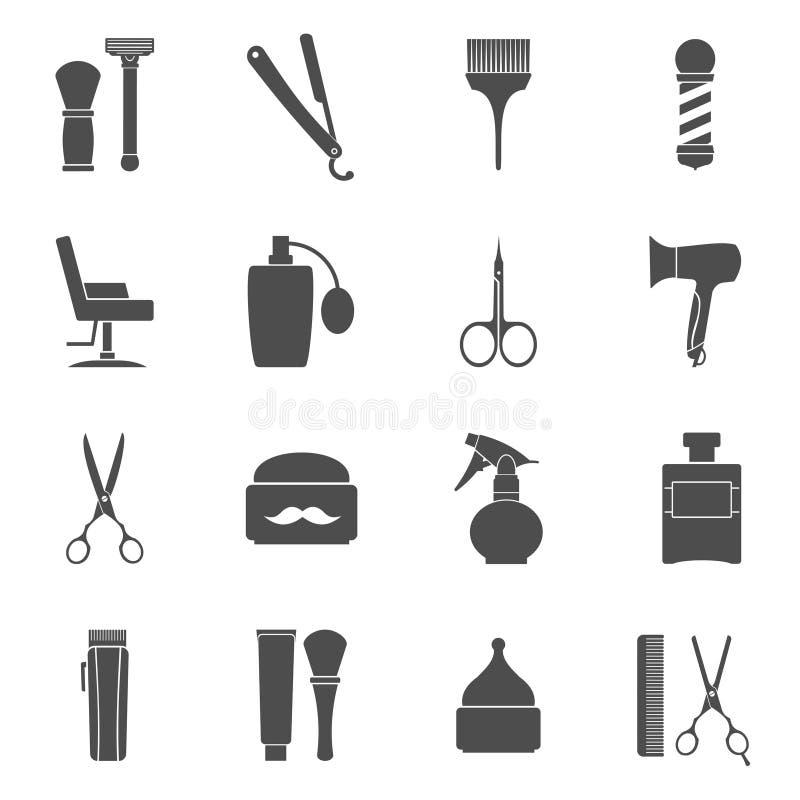 Ícones lisos do vintage de Barber Shop ajustados ilustração do vetor