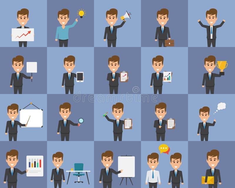 Ícones lisos dos caráteres da ideia do conceito do negócio ilustração royalty free