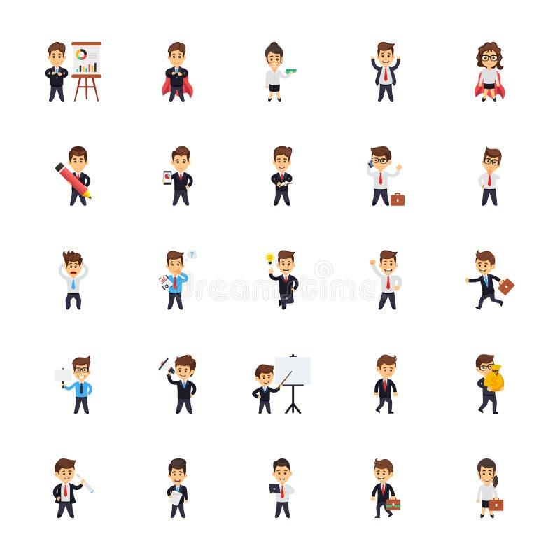 Ícones lisos dos caráteres do negócio ajustados ilustração stock