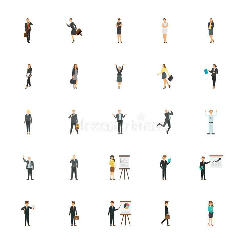 Ícones lisos dos caráteres do negócio para Web site do comércio eletrónico ilustração royalty free