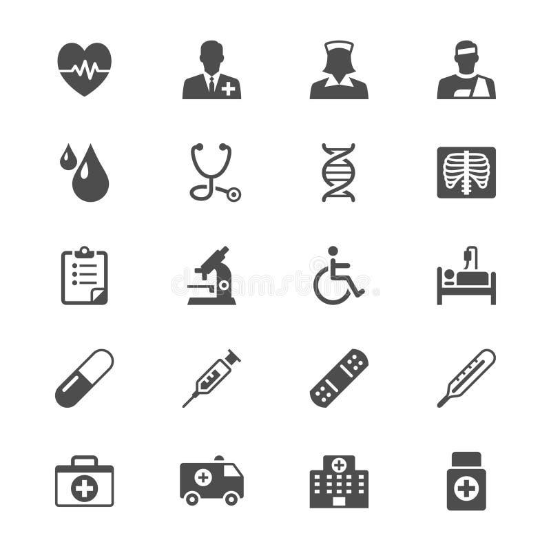 Ícones lisos dos cuidados médicos ilustração stock