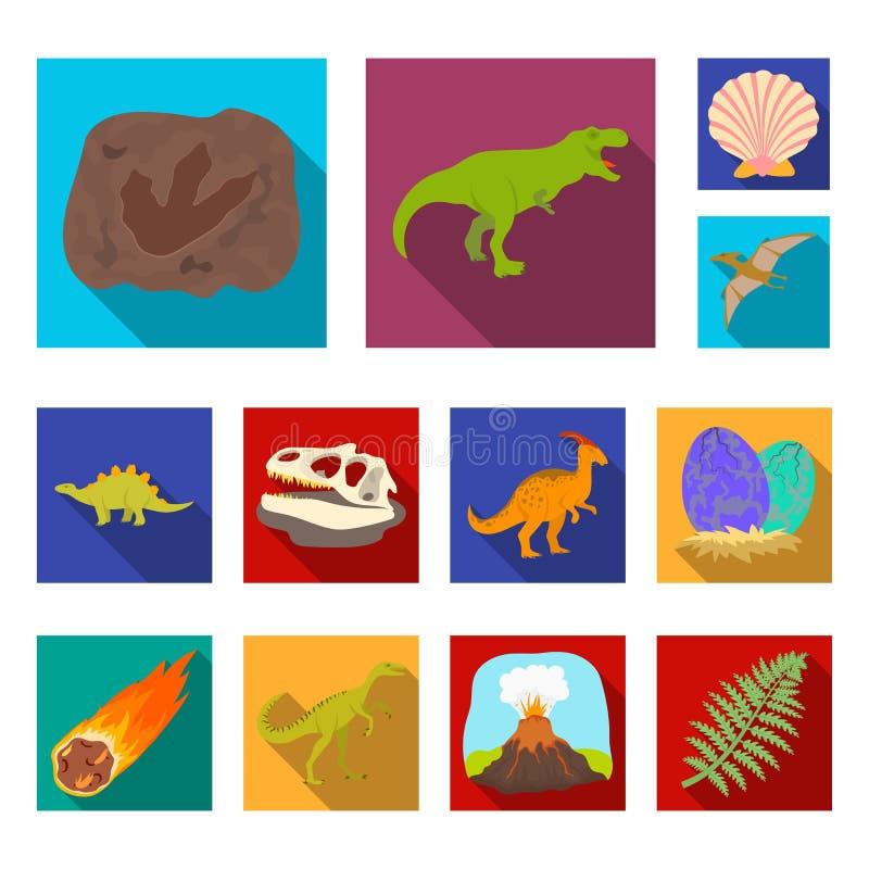 Ícones lisos dos dinossauros diferentes na coleção do grupo para o projeto Ilustração animal pré-histórica da Web do estoque do s ilustração royalty free