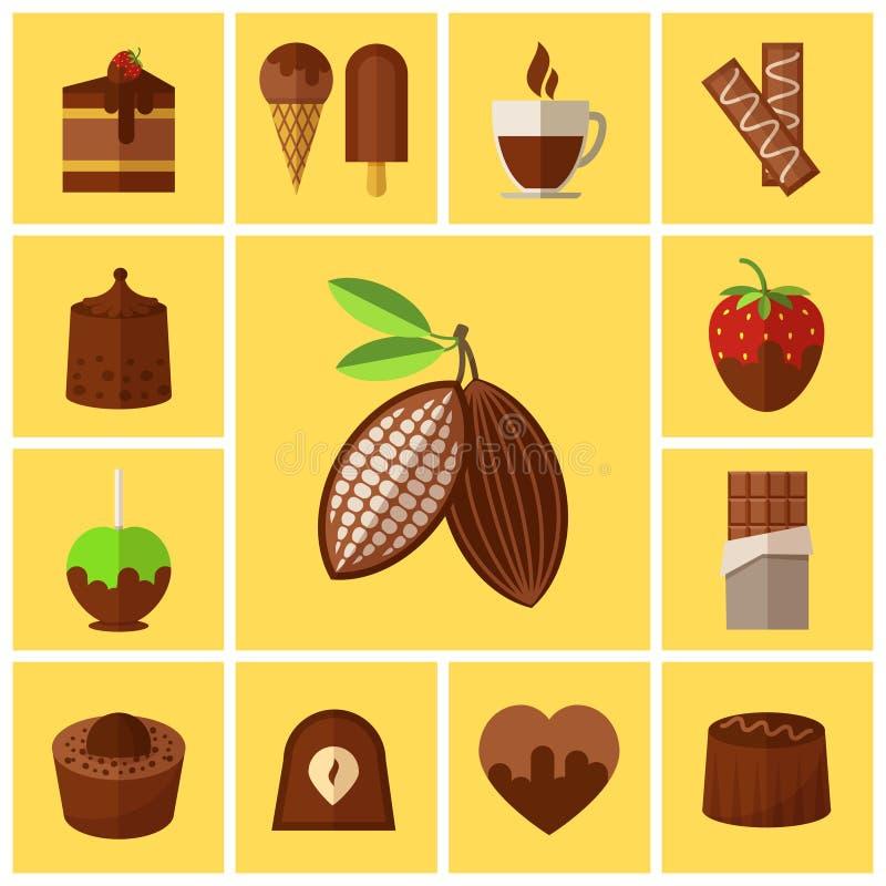 Ícones lisos dos doces, dos bolos e de cacau do feijão do chocolate ilustração royalty free