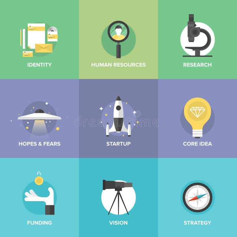 Ícones lisos dos elementos chaves Startup ilustração do vetor