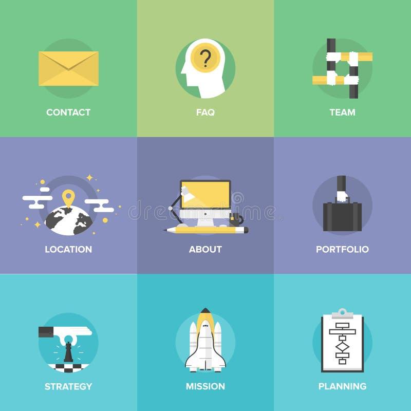 Ícones lisos dos elementos da organização de negócios ajustados ilustração stock