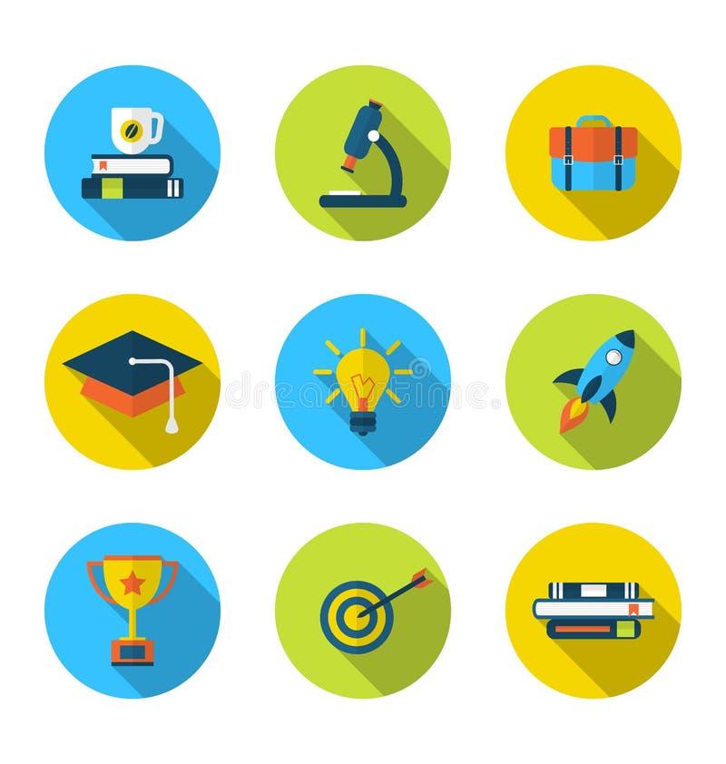 Ícones lisos dos elementos e dos objetos para a High School e a faculdade ilustração do vetor