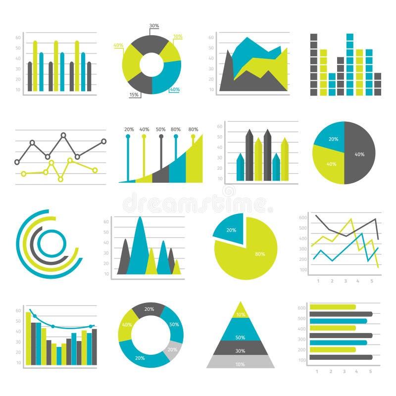 Ícones lisos dos gráficos ajustados ilustração do vetor