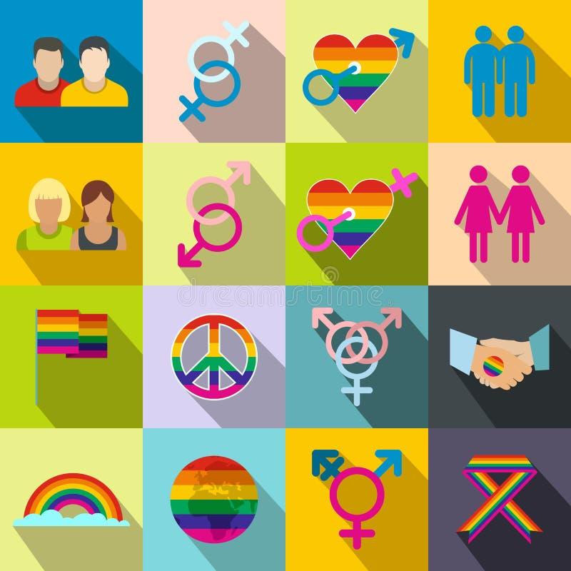 Ícones lisos dos homossexual ajustados ilustração royalty free