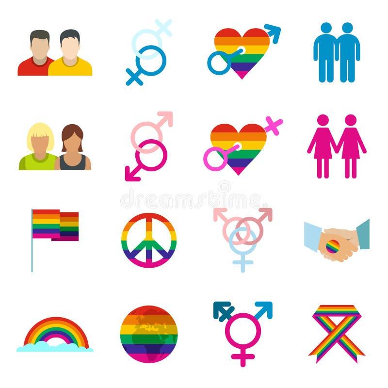 Ícones lisos dos homossexual ajustados ilustração do vetor