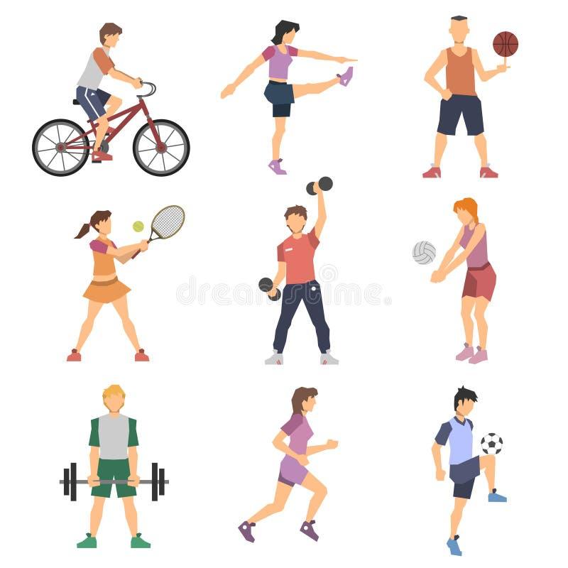 Ícones lisos dos povos do esporte ajustados ilustração stock