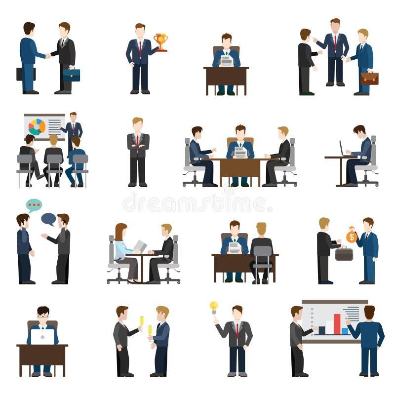 Ícones lisos dos povos dos homens de negócios do vetor: local de trabalho do escritório para negócios ilustração stock