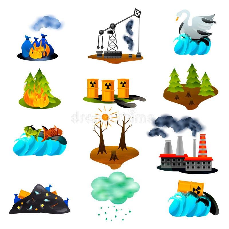 Ícones lisos dos problemas ecológicos ilustração royalty free