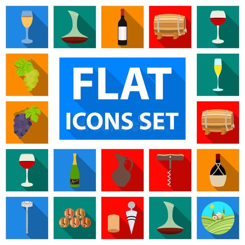 Ícones lisos dos produtos de vinho na coleção do grupo para o projeto O equipamento e a produção de vinho vector a Web conservada ilustração royalty free