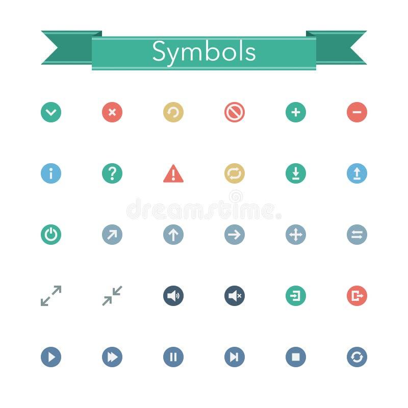Ícones lisos dos símbolos ilustração do vetor
