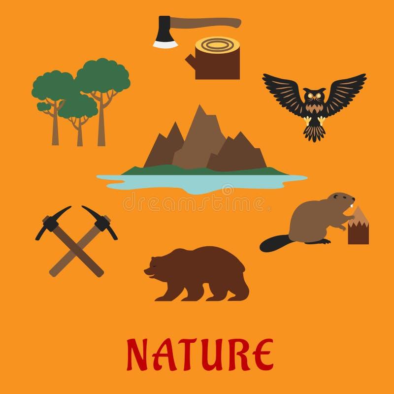 Ícones lisos dos símbolos canadenses da natureza ilustração do vetor