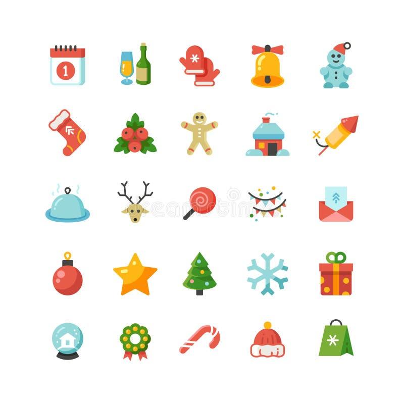 Ícones lisos engraçados do vetor do Natal e dos desenhos animados do feriado do ano novo ilustração stock