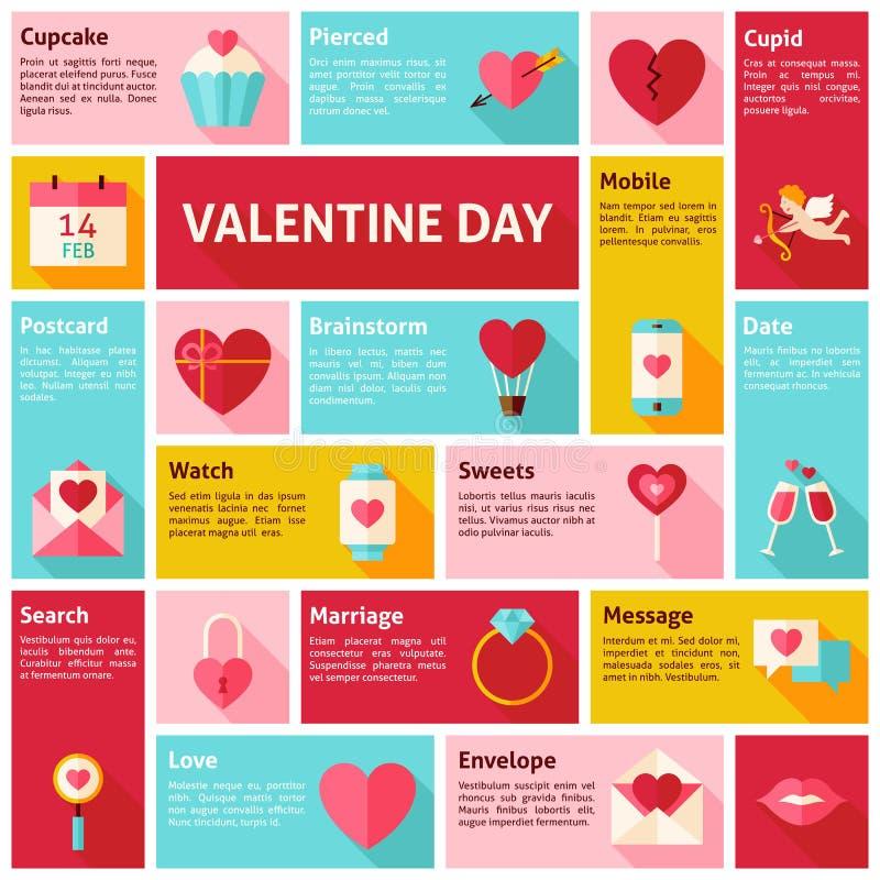 Ícones lisos Infographic Valentine Day Concept do vetor do projeto ilustração royalty free