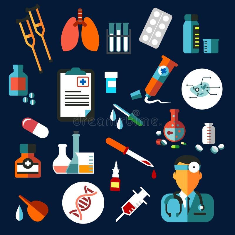 Ícones lisos médicos com medicamentação e diagnósticos ilustração stock