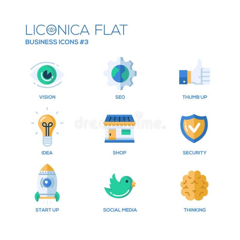 Ícones lisos modernos do projeto do escritório e da área de negócio, pictograma ajustados ilustração stock