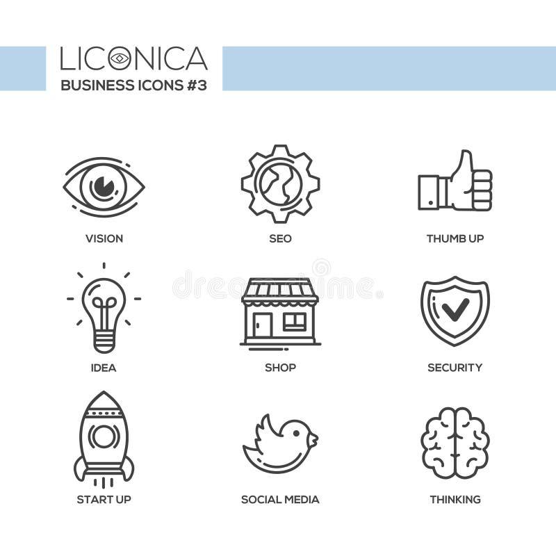 Ícones lisos modernos do projeto do escritório e da área de negócio, pictograma ajustados ilustração do vetor
