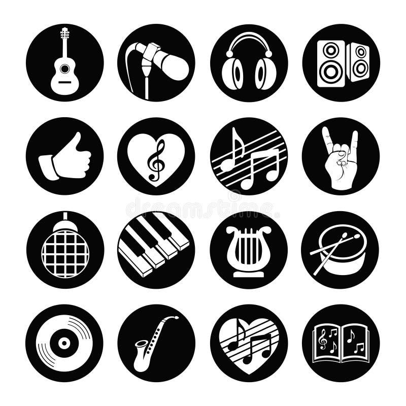 Ícones lisos musicais ajustados da Web do vetor Preto e branco com sombra longa para o Internet, apps móveis, projeto de relação ilustração stock
