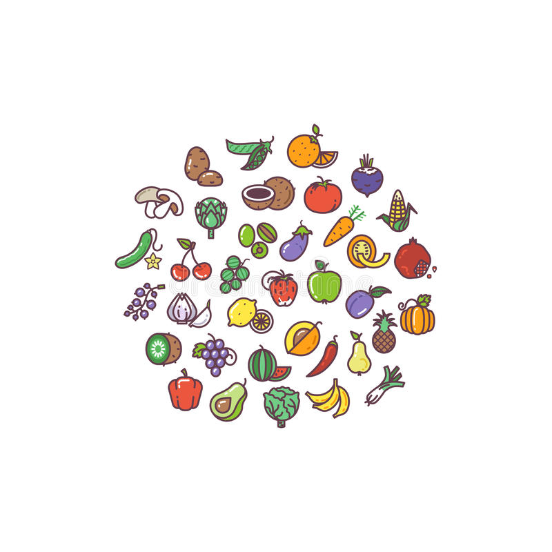 Ícones lisos orgânicos das frutas e legumes no projeto do círculo ilustração royalty free