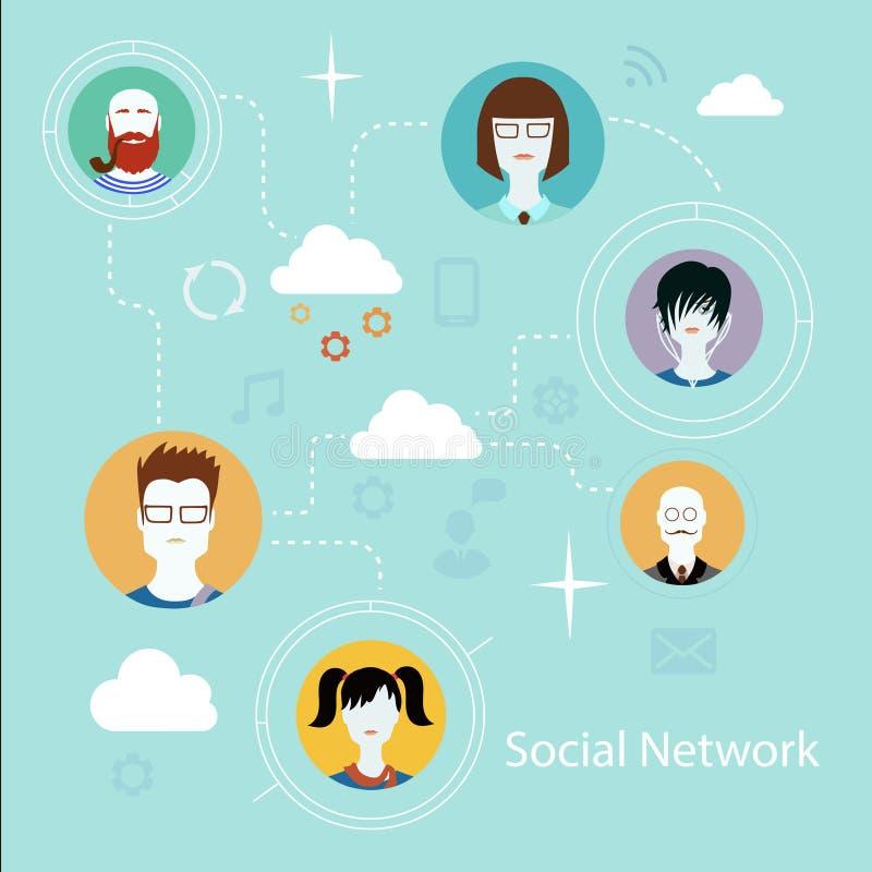Ícones lisos para a conexão social dos meios e de rede ilustração do vetor