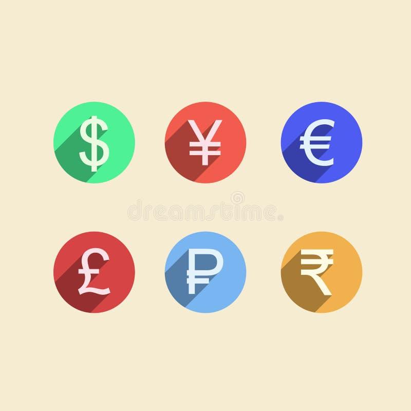 Ícones lisos para a pessoa ávida de dinheiro ilustração do vetor